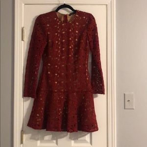 Zara long sleeve crocheted wine color dress